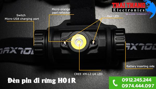 Cung cấp đèn pin đội đầu đi rừng H01R siêu sáng chính hãng