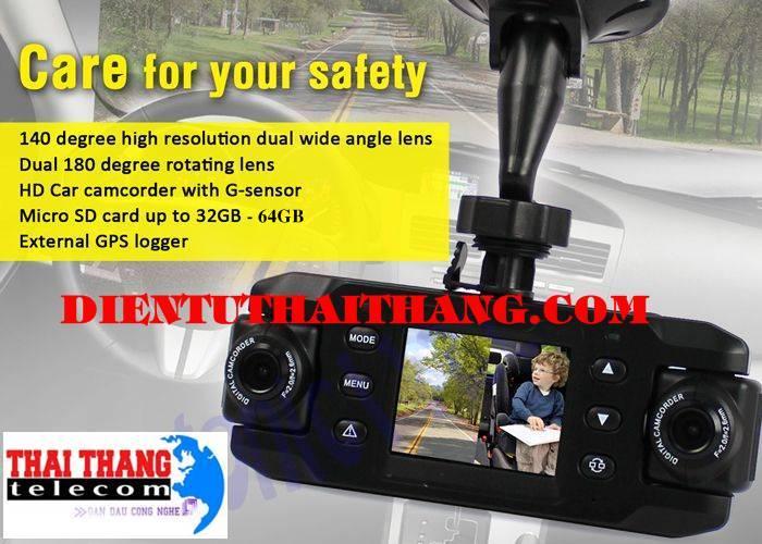 Camera hành trình ô tô 2 camera full HD siêu nét, góc quay rộng
